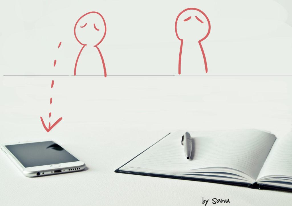 スマホや携帯電話はサイレントにしてカバンの中に入れておく
