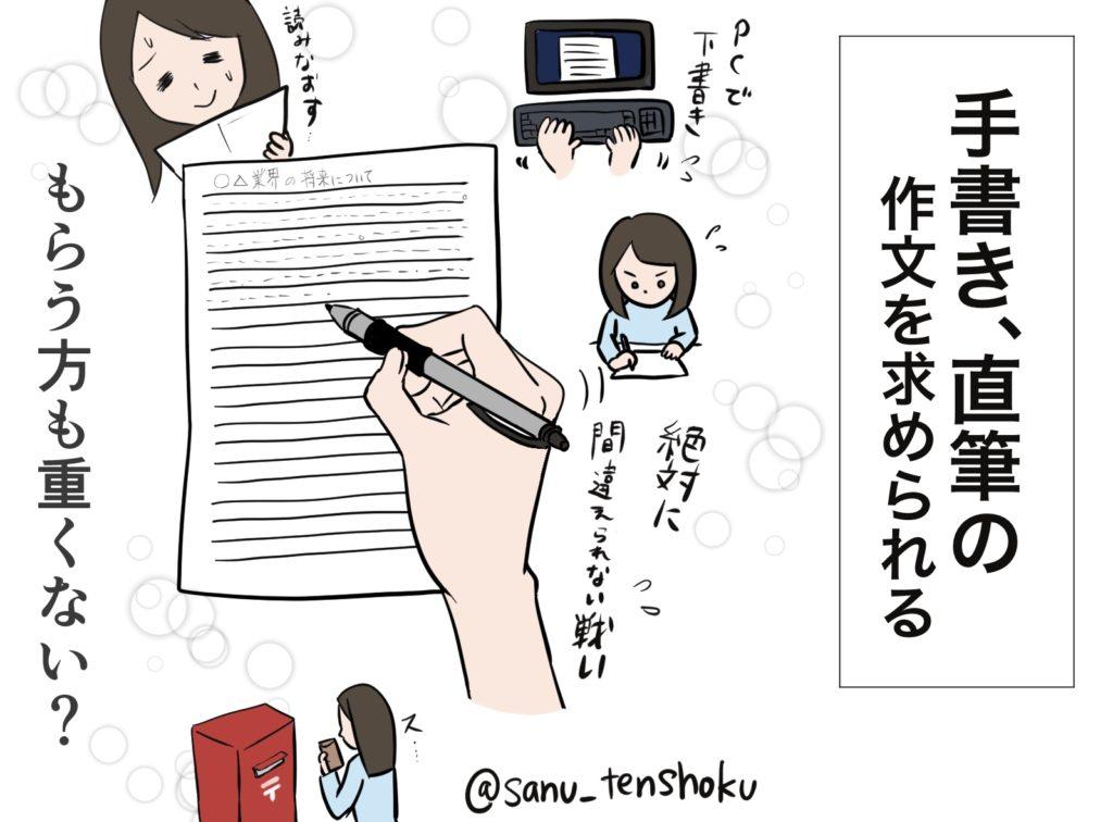 手書きの作文を求められる