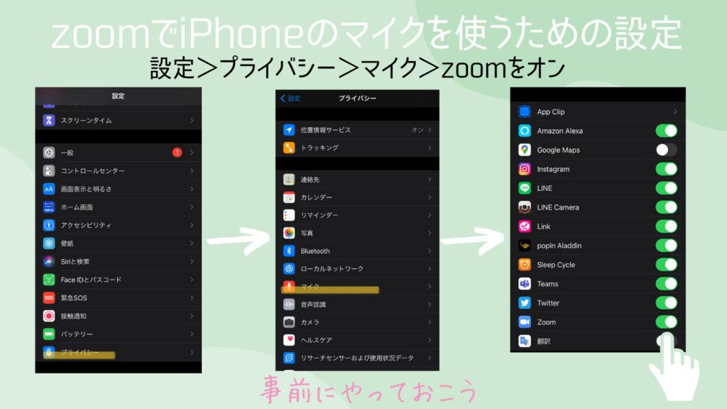 zoomでiphoneのマイクを使うための設定方法。面接のとき焦るから事前にしておこう。設定>プライバシー>マイク>zoomをオン